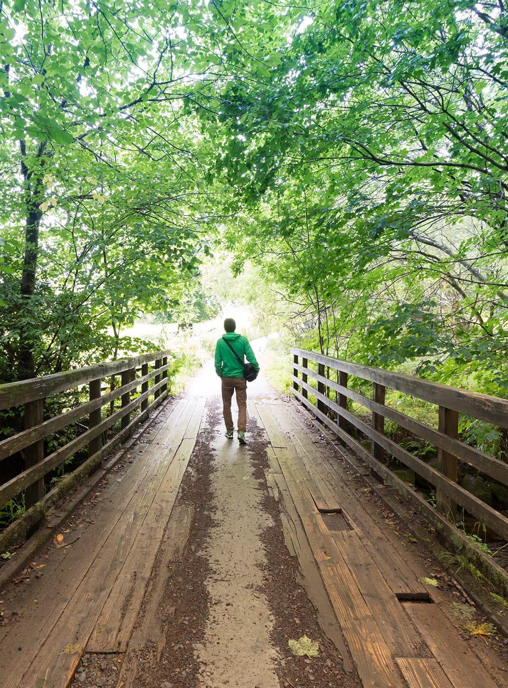man-walking-over-bridge